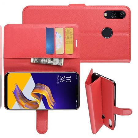 Флип чехол книжка с кошельком подставкой отделениями для карт и магнитной застежкой для Asus Zenfone Max M2 ZB633KL Красный