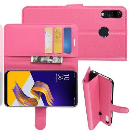 Флип чехол книжка с кошельком подставкой отделениями для карт и магнитной застежкой для Asus Zenfone Max M2 ZB633KL Розовый