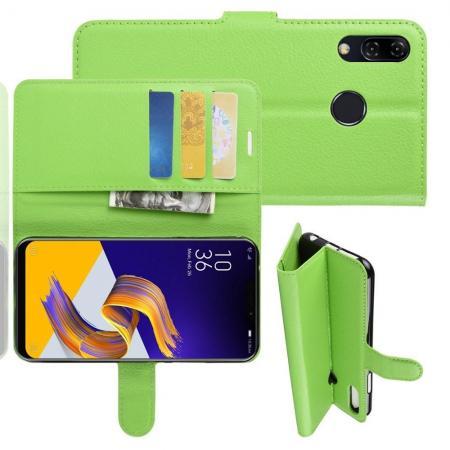 Флип чехол книжка с кошельком подставкой отделениями для карт и магнитной застежкой для Asus Zenfone Max M2 ZB633KL Зеленый