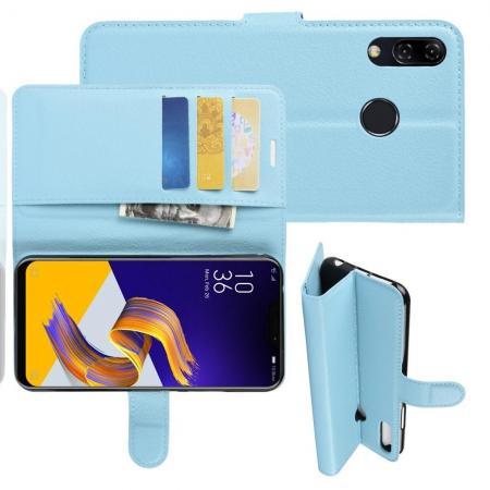 Флип чехол книжка с кошельком подставкой отделениями для карт и магнитной застежкой для Asus Zenfone Max M2 ZB633KL Голубой