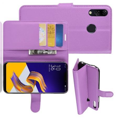 Флип чехол книжка с кошельком подставкой отделениями для карт и магнитной застежкой для Asus Zenfone Max M2 ZB633KL Фиолетовый