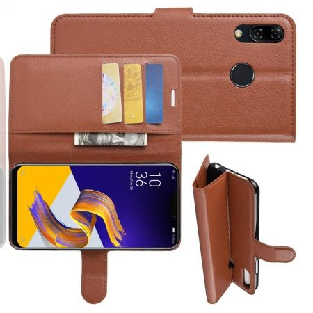 Флип чехол книжка с кошельком подставкой отделениями для карт и магнитной застежкой для Asus Zenfone Max M2 ZB633KL Коричневый