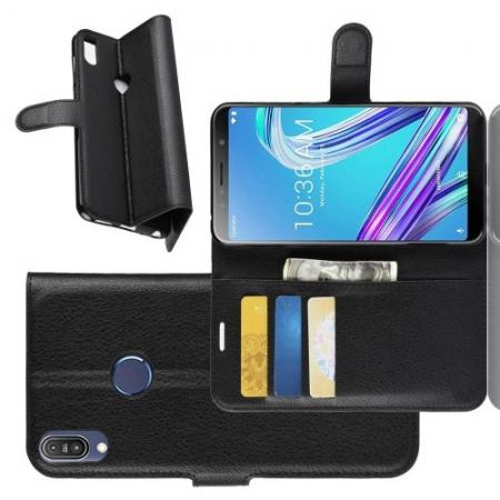 Боковая Чехол Книжка Кошелек с Футляром для Карт и Застежкой Магнитом для Asus Zenfone Max Pro M1 ZB602KL Черный