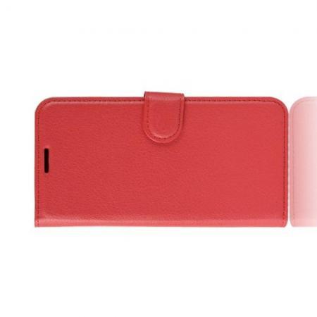 Боковая Чехол Книжка Кошелек с Футляром для Карт и Застежкой Магнитом для Asus Zenfone Max Pro M1 ZB602KL Красный