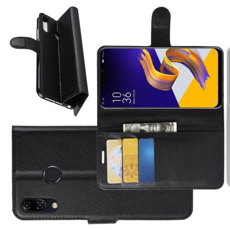 Флип чехол книжка с кошельком подставкой отделениями для карт и магнитной застежкой для Asus Zenfone Max Pro M2 ZB631KL Черный