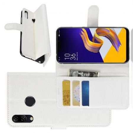 Флип чехол книжка с кошельком подставкой отделениями для карт и магнитной застежкой для Asus Zenfone Max Pro M2 ZB631KL Белый