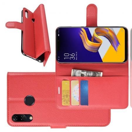 Флип чехол книжка с кошельком подставкой отделениями для карт и магнитной застежкой для Asus Zenfone Max Pro M2 ZB631KL Красный