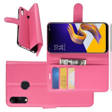 Флип чехол книжка с кошельком подставкой отделениями для карт и магнитной застежкой для Asus Zenfone Max Pro M2 ZB631KL Розовый