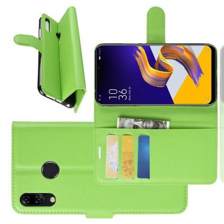 Флип чехол книжка с кошельком подставкой отделениями для карт и магнитной застежкой для Asus Zenfone Max Pro M2 ZB631KL Зеленый