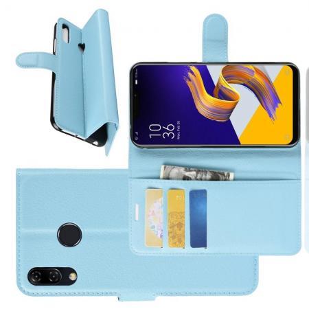 Флип чехол книжка с кошельком подставкой отделениями для карт и магнитной застежкой для Asus Zenfone Max Pro M2 ZB631KL Голубой