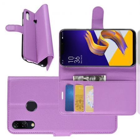 Флип чехол книжка с кошельком подставкой отделениями для карт и магнитной застежкой для Asus Zenfone Max Pro M2 ZB631KL Фиолетовый