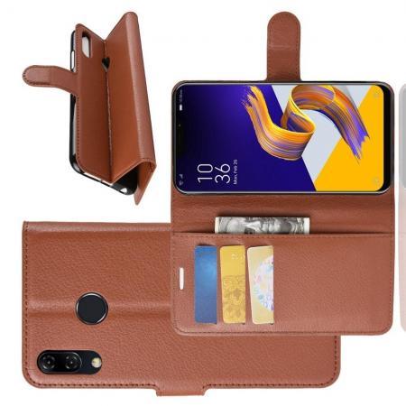 Флип чехол книжка с кошельком подставкой отделениями для карт и магнитной застежкой для Asus Zenfone Max Pro M2 ZB631KL Коричневый