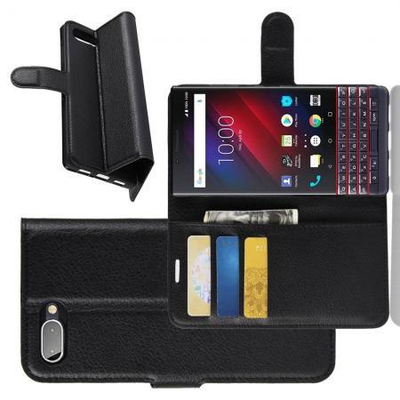 Флип чехол книжка с кошельком подставкой отделениями для карт и магнитной застежкой для BlackBerry KEY2 LE Черный