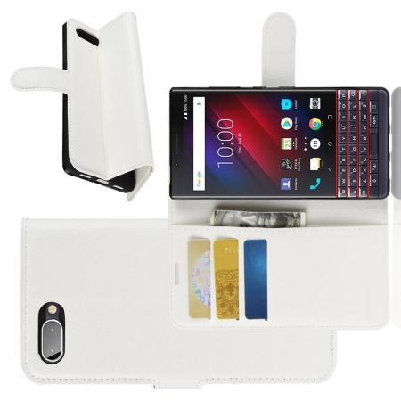 Флип чехол книжка с кошельком подставкой отделениями для карт и магнитной застежкой для BlackBerry KEY2 LE Белый