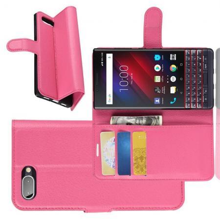 Флип чехол книжка с кошельком подставкой отделениями для карт и магнитной застежкой для BlackBerry KEY2 LE Розовый