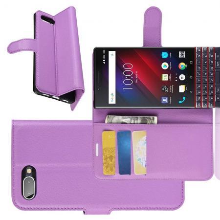 Флип чехол книжка с кошельком подставкой отделениями для карт и магнитной застежкой для BlackBerry KEY2 LE Фиолетовый