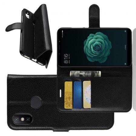 Флип чехол книжка с кошельком подставкой отделениями для карт и магнитной застежкой для Чехлы для Xiaomi Mi A2 / Mi 6X Черный