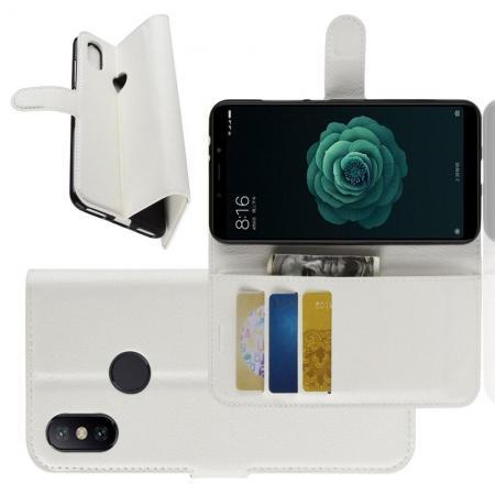 Флип чехол книжка с кошельком подставкой отделениями для карт и магнитной застежкой для Чехлы для Xiaomi Mi A2 / Mi 6X Белый