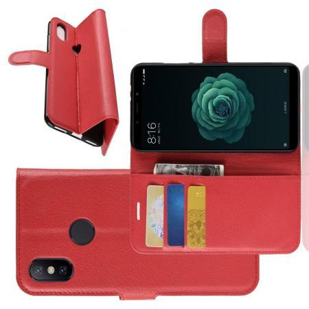 Флип чехол книжка с кошельком подставкой отделениями для карт и магнитной застежкой для Чехлы для Xiaomi Mi A2 / Mi 6X Красный