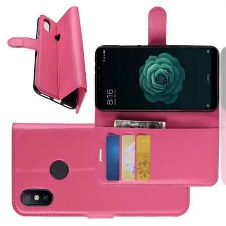 Флип чехол книжка с кошельком подставкой отделениями для карт и магнитной застежкой для Чехлы для Xiaomi Mi A2 / Mi 6X Розовый