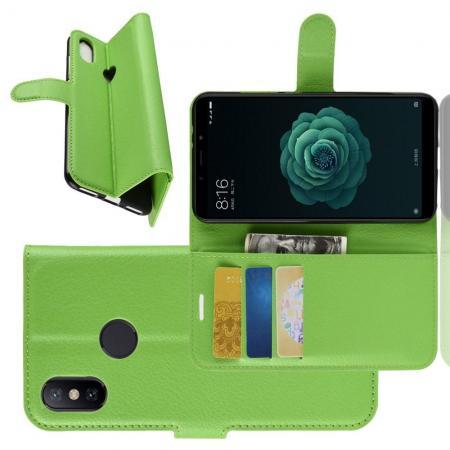 Флип чехол книжка с кошельком подставкой отделениями для карт и магнитной застежкой для Чехлы для Xiaomi Mi A2 / Mi 6X Зеленый