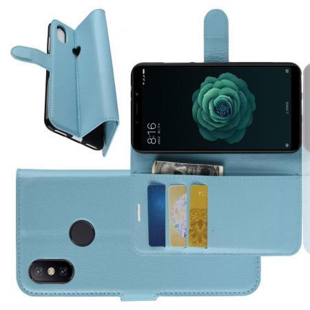 Флип чехол книжка с кошельком подставкой отделениями для карт и магнитной застежкой для Чехлы для Xiaomi Mi A2 / Mi 6X Голубой