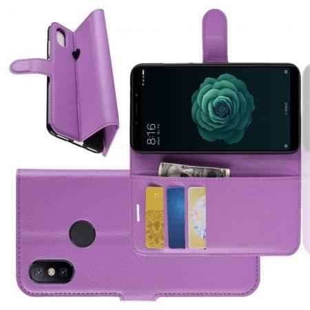 Флип чехол книжка с кошельком подставкой отделениями для карт и магнитной застежкой для Чехлы для Xiaomi Mi A2 / Mi 6X Фиолетовый