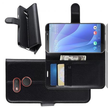 Флип чехол книжка с кошельком подставкой отделениями для карт и магнитной застежкой для HTC Desire 12s Черный
