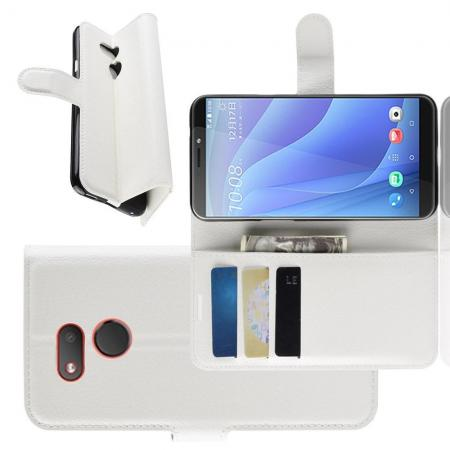 Флип чехол книжка с кошельком подставкой отделениями для карт и магнитной застежкой для HTC Desire 12s Белый