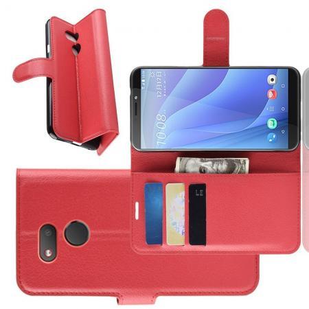 Флип чехол книжка с кошельком подставкой отделениями для карт и магнитной застежкой для HTC Desire 12s Красный