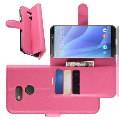 Флип чехол книжка с кошельком подставкой отделениями для карт и магнитной застежкой для HTC Desire 12s Розовый