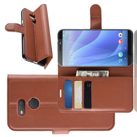 Флип чехол книжка с кошельком подставкой отделениями для карт и магнитной застежкой для HTC Desire 12s Коричневый