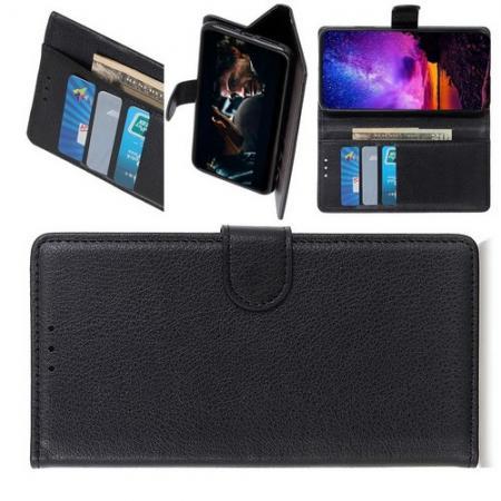 Флип чехол книжка с кошельком подставкой отделениями для карт и магнитной застежкой для HTC Desire 19 Plus Черный