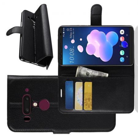 Флип чехол книжка с кошельком подставкой отделениями для карт и магнитной застежкой для HTC U12+ Черный