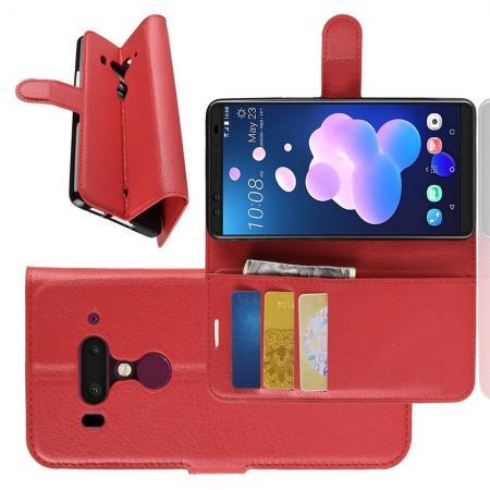 Флип чехол книжка с кошельком подставкой отделениями для карт и магнитной застежкой для HTC U12+ Красный