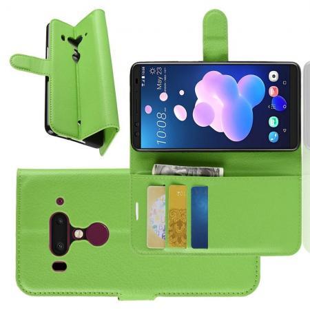 Флип чехол книжка с кошельком подставкой отделениями для карт и магнитной застежкой для HTC U12+ Зеленый