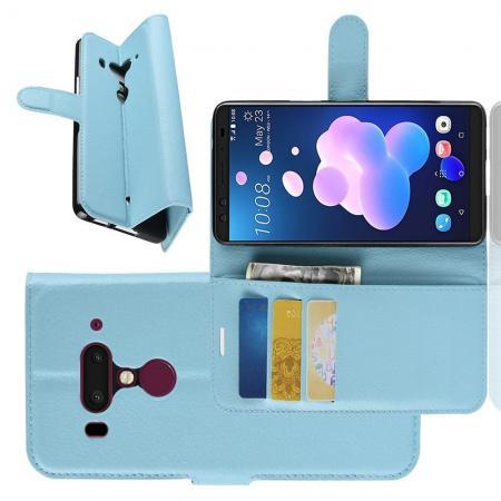 Флип чехол книжка с кошельком подставкой отделениями для карт и магнитной застежкой для HTC U12+ Голубой