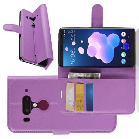 Флип чехол книжка с кошельком подставкой отделениями для карт и магнитной застежкой для HTC U12+ Фиолетовый