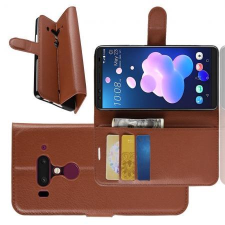 Флип чехол книжка с кошельком подставкой отделениями для карт и магнитной застежкой для HTC U12+ Коричневый