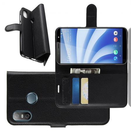 Флип чехол книжка с кошельком подставкой отделениями для карт и магнитной застежкой для HTC U12 life Черный
