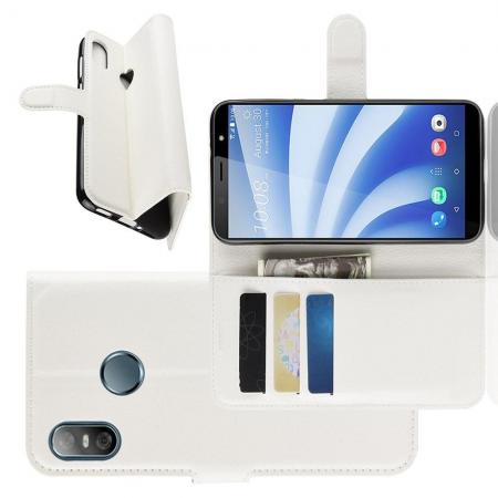 Флип чехол книжка с кошельком подставкой отделениями для карт и магнитной застежкой для HTC U12 life Белый
