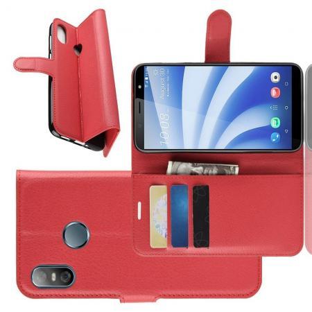 Флип чехол книжка с кошельком подставкой отделениями для карт и магнитной застежкой для HTC U12 life Красный