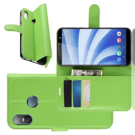 Флип чехол книжка с кошельком подставкой отделениями для карт и магнитной застежкой для HTC U12 life Зеленый