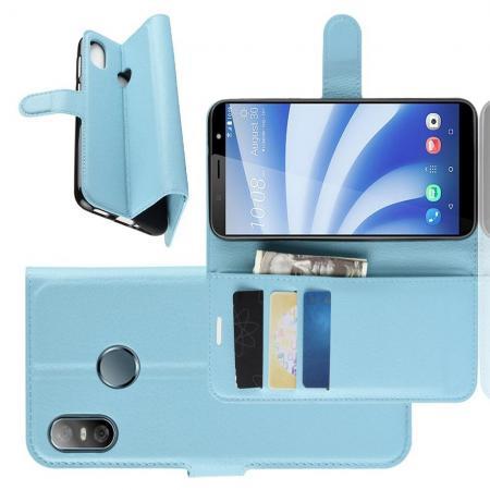 Флип чехол книжка с кошельком подставкой отделениями для карт и магнитной застежкой для HTC U12 life Голубой