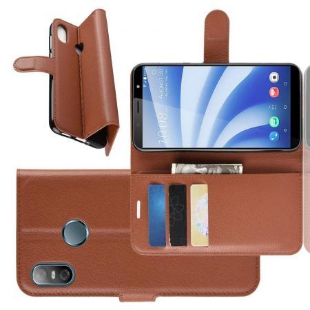 Флип чехол книжка с кошельком подставкой отделениями для карт и магнитной застежкой для HTC U12 life Коричневый