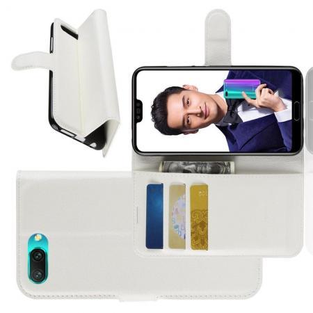 Флип чехол книжка с кошельком подставкой отделениями для карт и магнитной застежкой для Huawei Honor 10 Белый