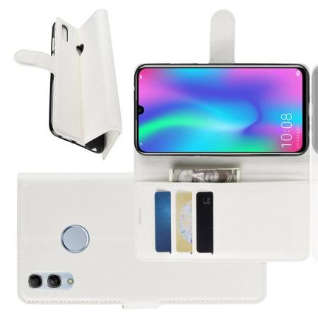 Флип чехол книжка с кошельком подставкой отделениями для карт и магнитной застежкой для Huawei Honor 10 Lite Белый