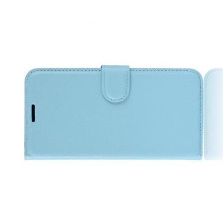 Флип чехол книжка с кошельком подставкой отделениями для карт и магнитной застежкой для Huawei Honor 20 Голубой