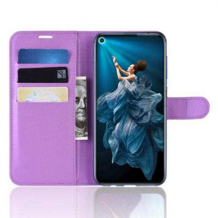 Флип чехол книжка с кошельком подставкой отделениями для карт и магнитной застежкой для Huawei Honor 20 Фиолетовый