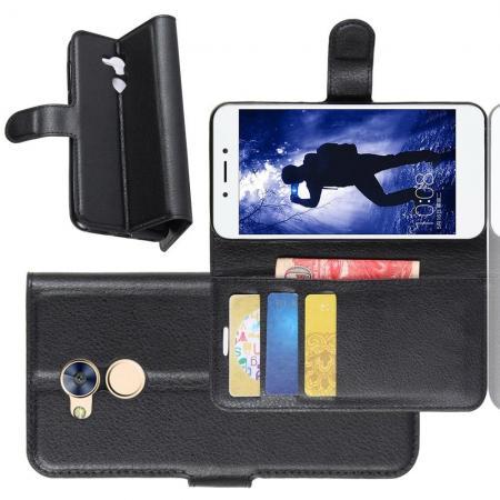 Флип чехол книжка с кошельком подставкой отделениями для карт и магнитной застежкой для Huawei Honor 6A Черный